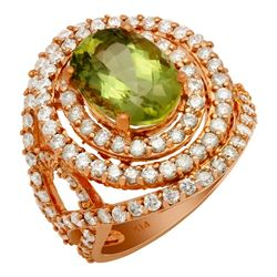 14k Rose Gold 4.15ct Green Beryl 2.38ct Diamond Ring