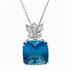 14k White Gold 39.09ct Blue Topaz 0.17ct Diamond Pendant