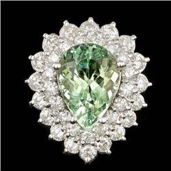 14K White Gold 5.04ct Beryl and 2.17ct Diamond Ring