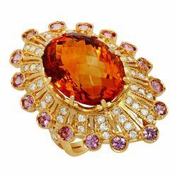 14k Yellow Gold 15.27ct Citrine 1.15ct Sapphire 1.09ct Diamond Ring