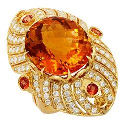 14k Yellow Gold 18.81ct Citrine 0.95ct Sapphire 1.59ct Diamond Ring