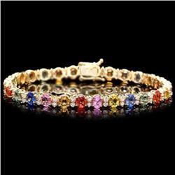 14K Gold 12.13ct Sapphire 1.82ct Diamond Bracelet