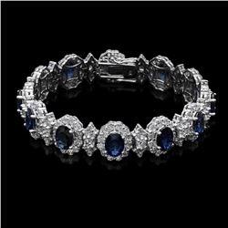 14K White Gold 12.35ct Sapphire and 10.88ct Diamond Bracelet