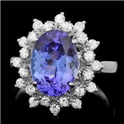 14K White Gold 3.37ct Tanzanite and 0.72ct Diamond Ring