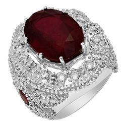 14k White Gold 18.20ct & 0.80ct Ruby 2.09ct Diamond Ring