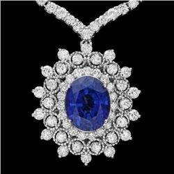 18K White Gold 6.10ct Tanzanite 10.65ct Diamond Necklace