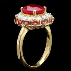 14K Yellow Gold 3.97ct Ruby and 1.14ct Diamond Ring