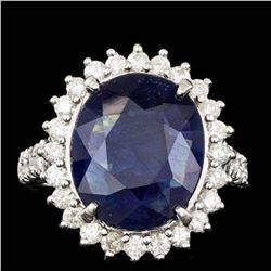 14K White Gold 8.82ct Sapphire and 1.12ct Diamond Ring