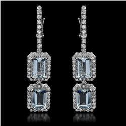 14k Gold 6.58ct Aquamarine & 2.20ct  Diamond Earrings