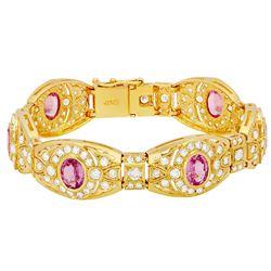 14k Yellow Gold 8.02ct Sapphire 7.22ct Diamond Bracelet