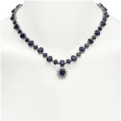 14K Gold 49.25ct Sapphire 1.72ct Diamond Necklace