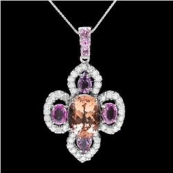 14K Gold 7.17ct Morganite 4.07ct Sapphire and 2.13ct Diamond Pendant