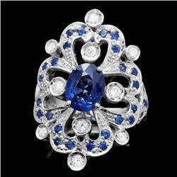 14K White Gold 2.92ct Sapphire and 0.50ct Diamond Ring