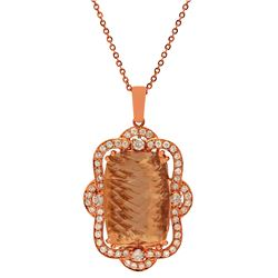 14k Rose Gold 32.96ct Morganite 1.89ct Diamond Pendant