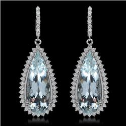 14K Gold 22.94ct Aquamarine 2.460ct Diamond Earrings