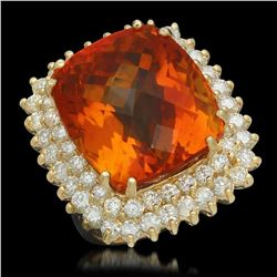 14K Yellow Gold 27.60ct Citrine and 2.89ct Diamond Ring