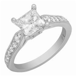 14k White Gold 1.27ct & 0.32ct Diamond Ring
