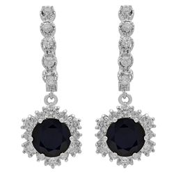 14k White Gold 4.96ct Sapphire 1.92ct Diamond Earrings