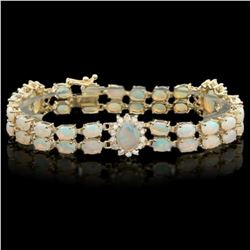 14K Gold 12.13ct Opal 1.39ct Diamond Bracelet