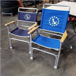 2 MARINE INSPIRED ALUMINUM FOLDING CHAIRS