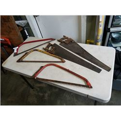 LOT OF HAND SAWS AND BOW SAWS
