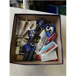 BOX OF WESTWARD SCREWDRIVERS, TAPS, NUT DRIVERS, WRENCHES, ETC