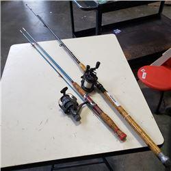 2 FISHING POLES WITH DAIWA  AND ABU GARCIA REELS