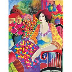 "Patricia Govezensky- Original Giclee on Canvas ""Lady With Flower View"""