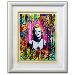 "Nastya Rovenskaya- Original Mixed Media on Paper ""Pink Marilyn"""