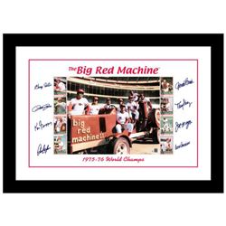 """Big Red Machine Tractor"" Framed Lithograph Signed by the Big Red Machine's Starting Eight, with Cer"