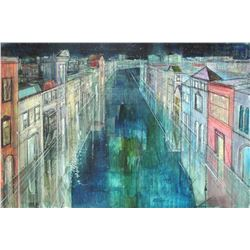 "Alex Zwarenstein ""Long Canal, Venice"" Giclee on Canvas"