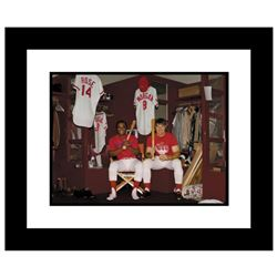 """""""Pete Rose & Morgan in Clubhouse"""" Framed Archival Photograph Autographed by Pete Rose and Joe Morgan"""