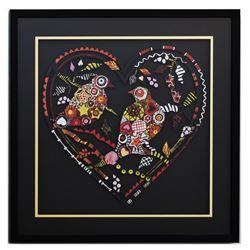 "Patricia Govezensky- Original Painting on Laser Cut Steel ""Love Birds XII"""