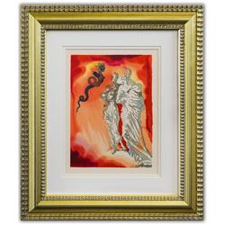 "Salvador Dali- Original Color Woodcut on B.F.K. Rives Paper ""Inferno 21"""