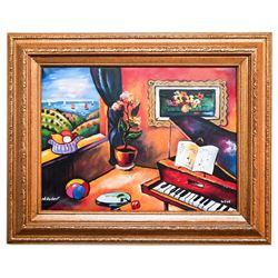 "Oleg Nikulov- Original Giclee on Canvas ""Piano with Countryside View"""