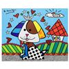 """Image 1 : Romero Britto """"To Jenna & Nick's Home"""" Hand Signed Limited Edition Giclee on Canvas; Authenticated"""