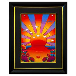 "Peter Max- Original Mixed Media ""Sunrise 2000"""