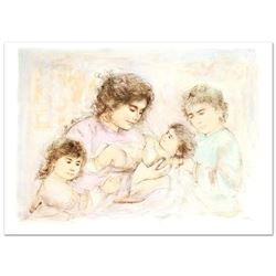 Marilyn and Children  Limited Edition Lithograph (37  x 27 ) by Edna Hibel (1917-2014), Numbered an