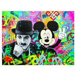 Nastya Rovenskaya- Original Oil on Canvas  Chaplin & Mickey Mouse