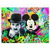 "Image 1 : Nastya Rovenskaya- Original Oil on Canvas ""Chaplin & Mickey Mouse"""