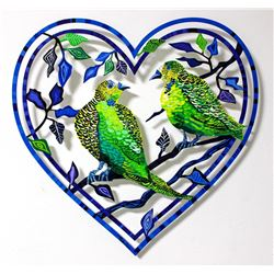 "Patricia Govezensky- Original Painting on Laser Cut Steel ""Love Birds IIII"""