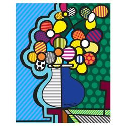 Romero Britto  New Flower  Hand Signed Giclee on Canvas; Authenticated
