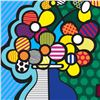 "Image 2 : Romero Britto ""New Flower"" Hand Signed Giclee on Canvas; Authenticated"