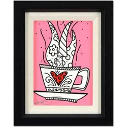 "Romero Britto- Giclee on Canvas ""So Good Pink Mini"""