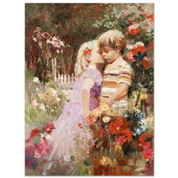 Pino (1939-2010),  The Kiss Revisited  Artist Embellished Limited Edition on Canvas, AP Numbered and