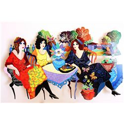 "Patricia Govezensky- Original Painting on Cutout Steel ""Tea Carnivale"""