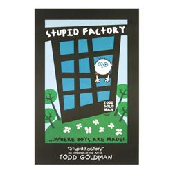 """Stupid Factory, Where Boys Are Made!"" Collectible Lithograph Hand Signed by Renowned Pop Artist Tod"