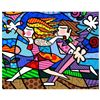 "Romero Britto ""New Love Blossoms"" Hand Signed Giclee on Canvas; Authenticated"