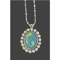 Mexican Sterling Turquoise Pendant Necklace