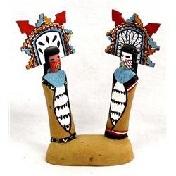 2 Hopi Shalako Kachinas on Wood Base